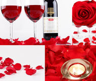 Special Occasion. A collage of pictures of roses with wine glasses and candle light and rose petals for a special occasion like Valentine's, marriage proposals Stock Images
