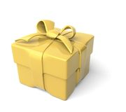 For special occasion. Classy, golden gift box squeezed by ribbon; bow on top Stock Illustration