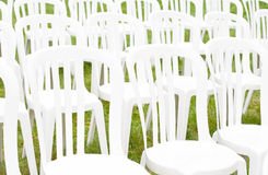 Special Occasion Chairs. A Grouping of White Chairs for a Special Occasion Stock Image