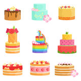 Special Occasion Decorated Cakes Assortment Royalty Free Stock Photography