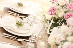 Special occasion dining table place setting Stock Photo