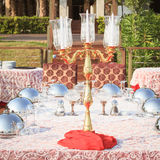 Special occasion table setting in a luxury outdoor restaurant Royalty Free Stock Photo