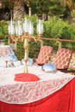 Special occasion table setting in a luxury outdoor restaurant Royalty Free Stock Image
