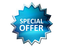 Special Offer. On blue label over white background. Illustration Royalty Free Stock Image