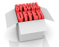 Special offer. One carton box with the words: special offer coming out (3d render Stock Image