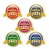 Special Offer 5 Golden Buttons. 5 buttons on the white background. Eps 10  file Royalty Free Stock Photo