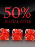 Special offer. Nice lighted Presents in the christmas time with special offer Royalty Free Stock Photo