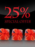Special offer. Nice lighted Presents in the christmas time with special offer Royalty Free Stock Photography
