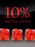 Special offer. Nice lighted Presents in the christmas time with special offer Stock Images