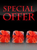 Special offer. Nice lighted Presents in the christmas time with special offer Stock Image