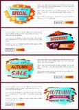 Special Offer Autumn Sale Posters Set Promo Advert. Special offer autumn sale posters set with promo advertising labels informing about discounts on web banners Royalty Free Stock Image