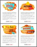 Special Offer Autumn Sale Posters Set Promo Advert. Special offer autumn sale posters set with promo advertising labels informing about discounts on web banners Stock Image