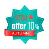 Special Offer 10 Autumn on Vector Illustration. Special offer 10 autumn, sticker with ribbon, text and image of small red maple leaf, icon on vector illustration royalty free illustration