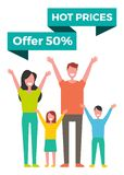 Special Offer Banner with Happy Family Vector Icon. Hot prices offer 50 percent off special offer banner with happy family vector icon. Half discount with royalty free illustration