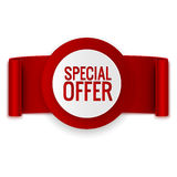 Special offer banner with ribbon  on white. Special offer banner with red ribbon  on white Royalty Free Stock Image