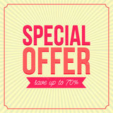 Special offer banner, save up to 7,l Vintage style Stock Photos