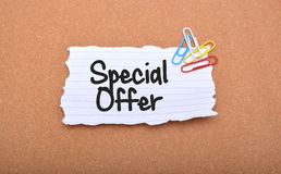 Special Offer Banner text on Paper.  Stock Photo