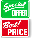 Special Offer Best Price store signs Stock Photos