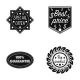 Special offer, best prise, guarantee, bio product.Label,set collection icons in black style vector symbol stock Stock Images