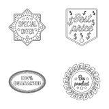 Special offer, best prise, guarantee, bio product.Label,set collection icons in monochrome style vector symbol stock Stock Image