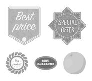 Special offer, best prise, guarantee, bio product.Label,set collection icons in monochrome style vector symbol stock. Illustration Stock Image