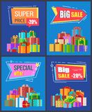 Special Offer Big Sale Super Price 20 Off Discount. Special offer big sale super price -20 off discounts promo advertisement posters with gift boxes in festive Stock Photos