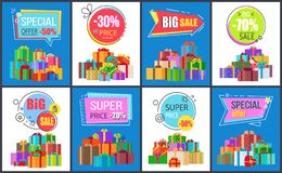 Special Offer -50 , Big Sale Vector Illustration. Special offer -50 and big sale, collection of banners depicting icons of presents with ribbons and headlines in stock illustration