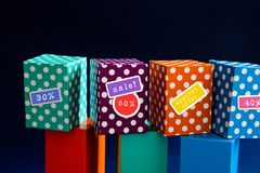 Special offer big sales discount promotion poster. Bright color boxes with discount stickers. royalty free stock images