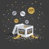 Special offer black friday discount symbol with white gift box, flying labels and confetti. Isolated on dark background. Easy to use for your design with royalty free illustration