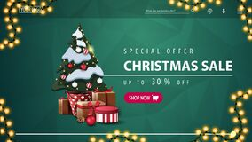 Free Special Offer, Christmas Sale, Up To 30 Off, Green Discount Banner For Website With Polygonal Texture, Garland, Pink Button Royalty Free Stock Photography - 194067057