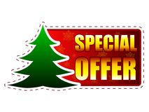 Special offer and christmas tree on red banner with snowflakes Stock Image