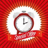 Special offer clock banner design. Vector illustration eps 10 Stock Photos