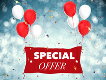 Special offer concept. 3d rendering special offer concept with red cloth banner, red balloons and confetti stock photos