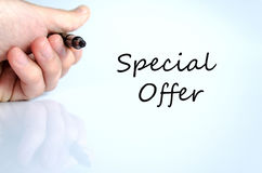 Special Offer Concept. Pen in the hand  over white background Special Offer Concept Stock Image