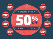Special offer cut off coupons. Big sale coupons. Scissors cutting through coupons dotted line. Limited time sale coupons with 10, 20, 30, 40, 50, 60, 70, 80 royalty free illustration