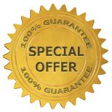 Special offer guarantee label. Special offer 3d rendered golden guarantee label Stock Images