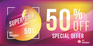 Special offer 50 discount in bright rectangular poster format and flyer. Super sale template for print and web advertising banner Stock Images