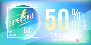 Special offer 50 discount in bright rectangular poster format and flyer. Super sale template for print and web advertising banner. On blue background. Flat Royalty Free Stock Images
