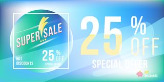 Special offer 25 discount in bright rectangular poster format and flyer. Super sale template for print and web advertising banner. On blue background. Flat Stock Image
