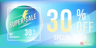 Special offer 30 discount in bright rectangular poster format and flyer. Super sale template for print and web advertising banner. On blue background. Flat Royalty Free Stock Photography