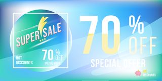 Special offer 70 discount in bright rectangular poster format and flyer. Super sale template for print and web advertising banner. On blue background. Flat Royalty Free Stock Photos