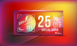 Special offer 25 discount in bright rectangular poster format and flyer. Super sale template for print and web advertising banner. Special offer 25 off discount Stock Images