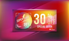 Special offer 30 discount in bright rectangular poster format and flyer. Super sale template for print and web advertising banner. Special offer 30 off discount Stock Photos