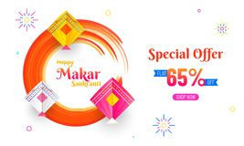 Special offer with 65% discount, colorful kites on abstract whit. E background for Makar Sankranti celebration royalty free illustration