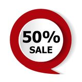 Special offer - 50% discount on the goods. Vector red icon. Special offer - 50% discount on the goods. Vector red icon Stock Photography