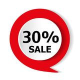 Special offer - 30% discount on the goods. Vector red icon. Special offer - 30% discount on the goods. Vector red icon Stock Photography