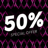 Special offer fifty percent text banner on musical dark background. Vector. Stock Photos