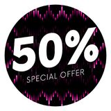 Special offer fifty percent text banner or sticker on musical dark background. Vector illustration. Special offer fifty percent text banner or sticker on Stock Images
