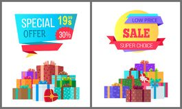 Special Offer Final Price Exclusive Sale Posters. Special offer final low price exclusive sale posters piles of gift boxes wrapped in decorative color paper Stock Photos
