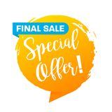 Special offer final sale banner, flat design. Special offer final sale banner, a flat design Royalty Free Stock Photos
